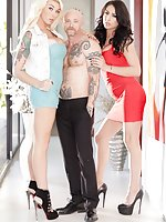 Iconic FTM trans star Buck Angel gets it on with two gorgeous TS babes, blonde Aubrey Kate and brunette Chanel Santini. Buck blows both these hot ladies, working their cocks like a champ. Buck rides Aubrey's cock while sucking Aubrey's cock and then Chane