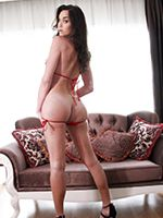 Jonelle Wearing a Sexy Red Bikini Plays with Her Throbbing Cock on the Couch