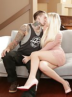 Blond TS beauty Aubrey Kate makes out with alt, non-binary tattooed stud Ruckus. They kiss passionately, eventually working their way into mutual blowjobs. Aubrey sucks Ruckus' cock until he cannot take it anymore, and then returns the favor. Aubrey moans