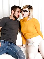 Pale, super-cute TS Ella Hollywood playfully teases in black heels, a tight top, and bulging white panties. The tiny blonde masturbates, caressing the tip of her she-dick; she tastes her sweet pre-cum and blows a kiss. Ella makes out with stud Dante Colle