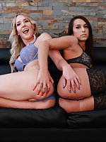 Khloe Kay and Kayleigh Coxx get together in this one to bring you one of the hottest trans threesome scenes you'll ever see! These two take turns sucking cock and getting their nice little asses fucked by some lucky mother fucker in this hot movie! You're