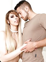 Elegant TS Casey Kisses jerks her pretty she-cock through torn fishnet pantyhose. Stud Dante Colle pleasures her prick with his mouth in a wet blowjob. Casey returns the favor, filling her gullet with Dante's dick as they share a hot 69. Dante stuffs Case