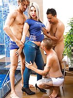 Super Sexy Shemale Carol Penelope takes on 3 guys