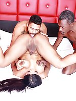 Sexy tgirl Drika Lima gets ass fucked by a white and a black dick