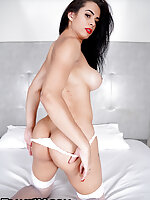 It's about that time once again! Gorgeous and horny Estela Duarte is about to go all the way in! Let's take a look at this girl. Gorgeous, alone and ready to show off for us. Looking fine as hell in that hot, red lipstick and flowing long hair. Let's spy