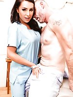 Hypochondriac D. Arclyte refuses to believe he is not dying, even after Nurse Chanel Santini tells him so. She must show him how hearty and healthy he really is. Chanel Santini, blows his big cock. They fuck each other in several positions, making them bo