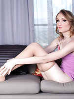 Sexy Jenny Flowers shows off her long legs and feet in nylons teasing but giving a good view for you nylons lovers!